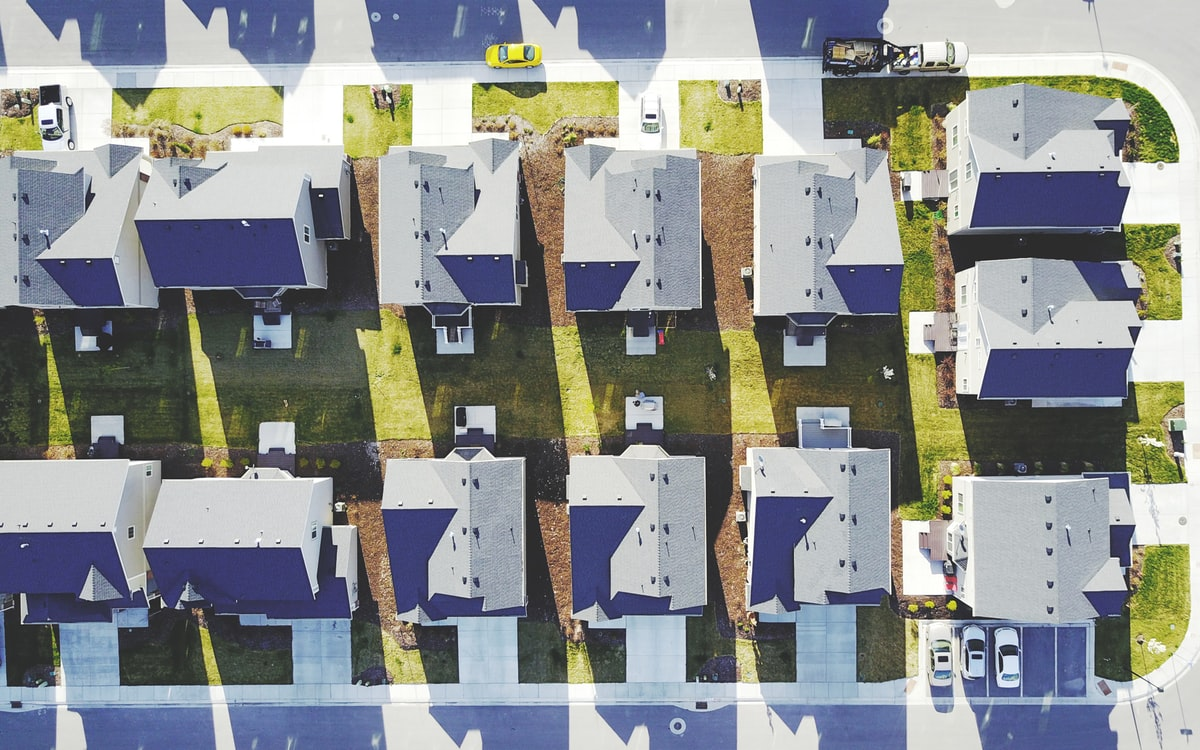 Aerial photo of nearly identical homes in a community